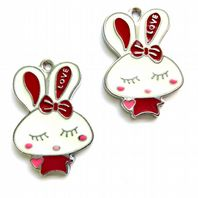 8 Enamel Easter Bunny Pendants 28mm